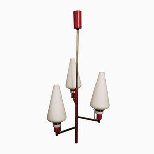 Italienische Mid-Century Deckenlampe aus Messing & Glas von Stilnovo