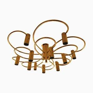 Lampada da soffitto a spirale in ottone di Honsel, anni '60