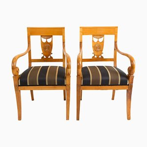 Early-19th Century Empire Cherry Seating Group, Set of 8