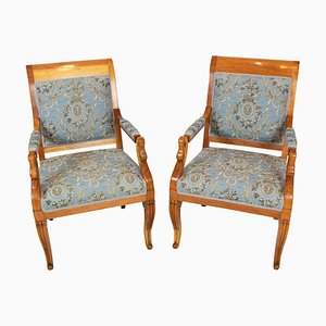 Early-19th Century Empire Biedermeier Plumwood Swan Armchairs, Set of 2