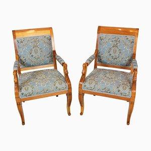 Empire Mid-Century Biedermeier Swan Armlehnstühle aus Pflaumenholz, 2er Set