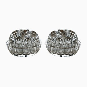 Mid-Century French Crystal Pique Fleur Vases from VMC, Set of 2