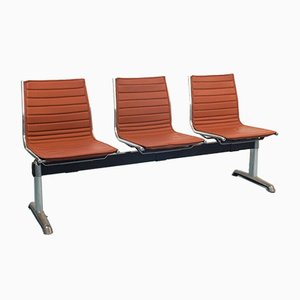 Vintage Leather 3-Seat Bench, 1970s