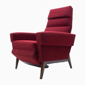 Scandinavian Wooden and Fabric Lounge Chair, 1960s