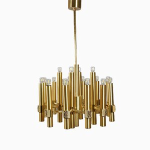 Brutalist Brass and Gold 16-Light Chandelier by Gaetano Sciolari for Sciolari, 1970s