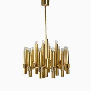 Lámpara de araña brutalista de oro y latón de 16 luces de Gaetano Sciolari para Sciolari, años 70