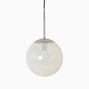 Lámparas colgantes italianas con esfera de cristal de Murano de Venini, años 50. Juego de 2