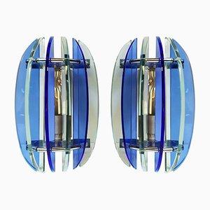 Blaue Glas Wandleuchten von Veca, 1970er, 2er Set
