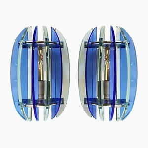 Blue Glass Sconces from Veca, 1970s, Set of 2