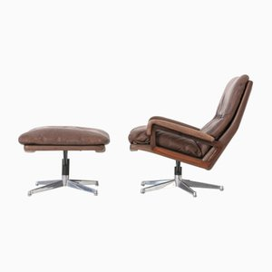 Swiss Rosewood Reclining King Chair and Stool Set by Andre Vandenbeuck for Strässle, 1960s