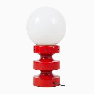 Rote Mid-Century Tischlampe mit Opalglas, 1960er
