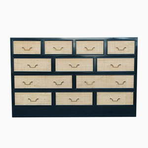 Dark Green Lacquered, Straw, and Brass Chest of Drawers from Vivai del Sud, 1970s