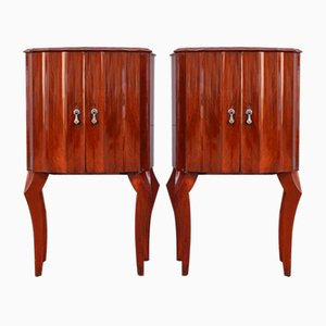 Italian Mahogany Concave Nightstands, 1950s, Set of 2