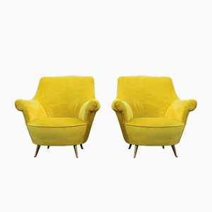 Italian Yellow Velvet and Brass Lounge Chairs from ISA Bergamo, 1950s, Set of 2
