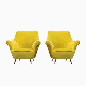 Italian Yellow Velvet and Brass Lounge Chairs from ISA Bergamo, 1950s, Set of 2