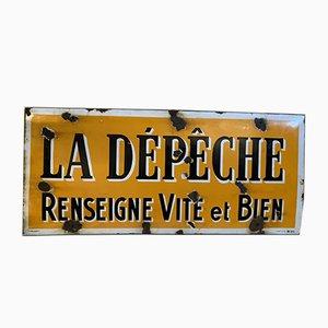 Vintage Industrial French Enameled La Dépèche Renseigne Vite et Bien Sign, 1930s