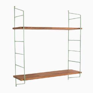 Mid-Century Olive Green and Walnut Panni Shelf, 1960s