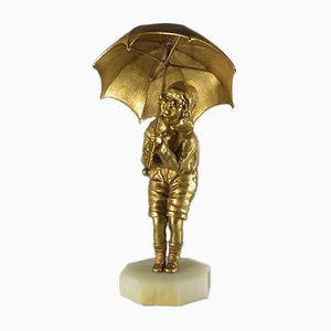 Gilded Bronze Child with Umbrella Figurine by Dh. Chiparus, 1920s