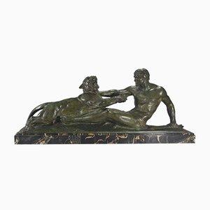 Escultura de hércules y pantera Art Déco de bronce de Jean Magrou, años 30