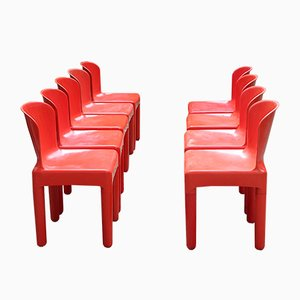 Vintage Space Age Italian Red Plastic Dining Chairs by Marcello Siard, 1960s, Set of 8