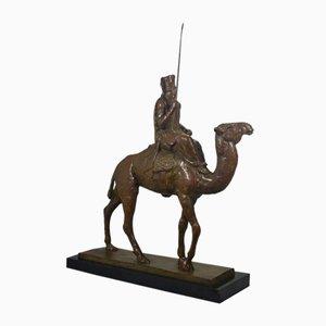 Escultura de Touareg on Camel Art Nouveles de bronce de Georges Garreau, años 20