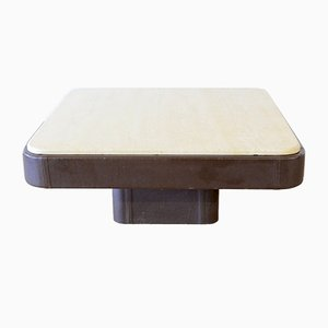 Leather and Travertine Coffee Table from de Sede, 1970s