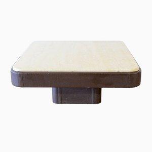 Table Basse en Cuir et Travertin de de Sede, 1970s