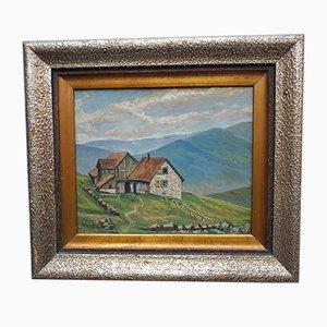 Paisaje de montañas con pintura al óleo de M. Kiefer