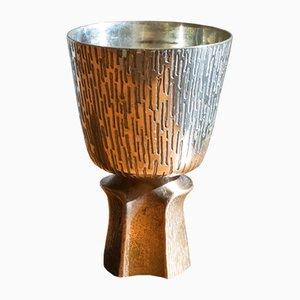 Vintage Brutalist Gold-Plated Bronze and Silver Vase, 1970s
