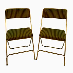 Vintage Hollywood Regency French Folding Chairs by Lafuma, 1970s, Set of 2