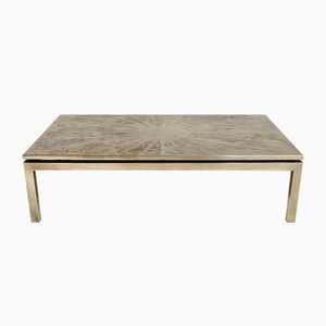 Mid-Century Belgian Etched Brass Coffee Table from ADS, 1970s