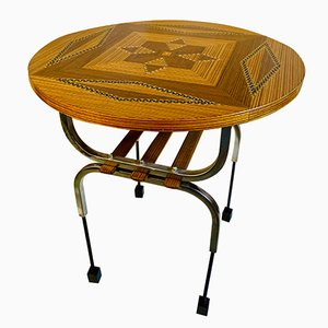 Vintage Marquetry and Chrome Side Table, 1960s