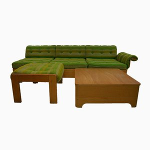 Vintage Swedish 3-Seater Sofa with Side Table & Footrest