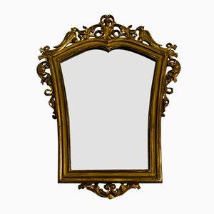 Antique Regency Wood Carving Mirror with Gold Leaf Frame