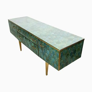 Mid-Century Gold and Green Decoupage Sideboard from Meredew