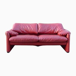 Leather Maralunga Sofa by Vico Magistretti for Cassina, 1990s