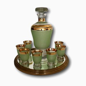 Vintage Liquor Set with Tray, 1950s, Set of 9