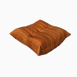 Cognac Leather Togo Pouf by Michel Ducaroy, 1990s
