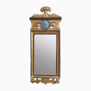 Antiker gustavianischer Spiegel mit Crown Wappen