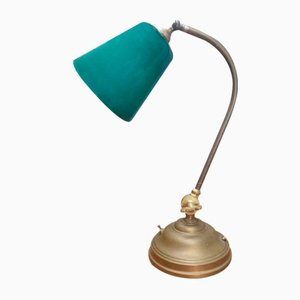 Antique Brass Table Lamp with Glass Shade, 1930s