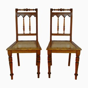 Antique Art Nouveau German Beech Dining Chairs, 1900s, Set of 2