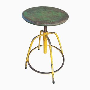 Industrial Ocher Yellow and Green Swivel Stool, 1940s
