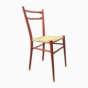 Mid-Century Light Red and Indian Cane Dining Chairs in the Style of Gio Ponti, Set of 2