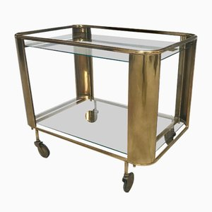 Art Deco French Brass Metal and Glass Serving Cart, 1920s