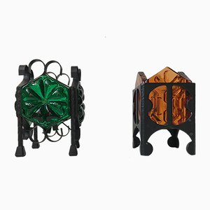 Vintage Scandinavian Wrought Iron and Glass Tealight Candleholders from Dantofte, 1970s, Set of 2