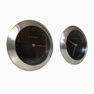 Horloge Murale en Aluminium et Thermomètre par Andreas Mikkelsen pour Georg Jensen, 1990s