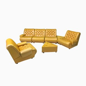 Vintage Mustard Modular Sofa, 1970s, Set of 7