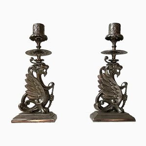 Vintage Chinese Candleholders with Griffin Dragons, 1950s, Set of 2