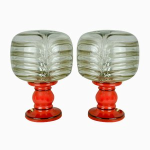 Ceramic and Glass Table Lamps, 1960s, Set of 2