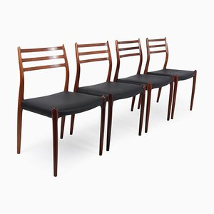 Rosewood Model 78 Dining Chairs by Niels Otto Møller for Moller, 1970s, Set of 4